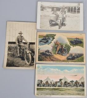 4- EARLY MILITARY MOTORCYCLE POSTCARDS