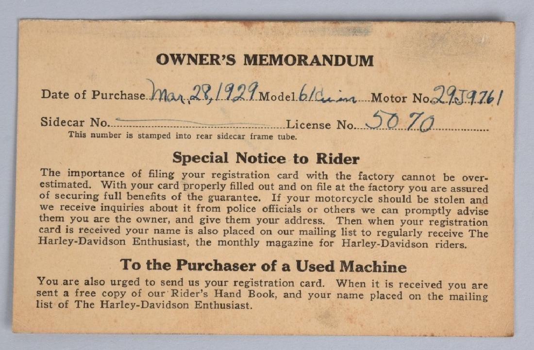1929 HARLEY DAVIDSON OWNERS MEMORANDUM