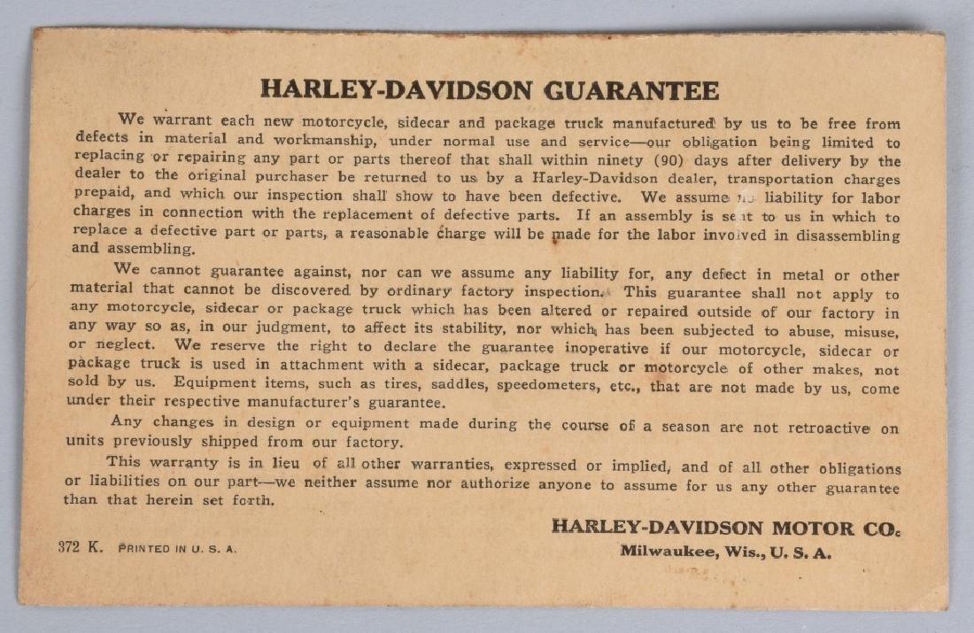 1929 HARLEY DAVIDSON OWNERS MEMORANDUM - 2