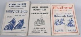 3- 1940s-50s MOTORCYCLE RACING PROGRAMS