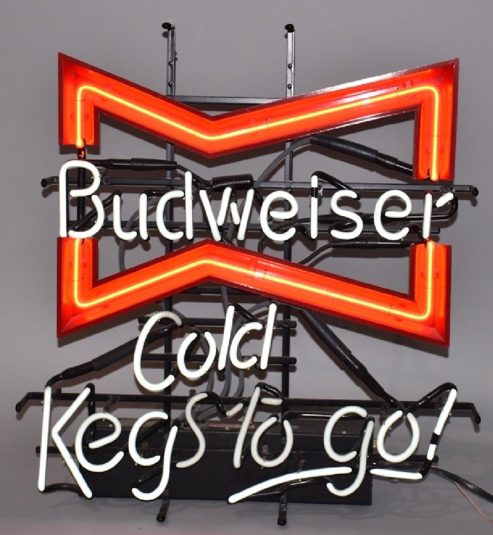 BUDWEISER BOWTIE COLD KEGS TO GO NEAON LIGHT