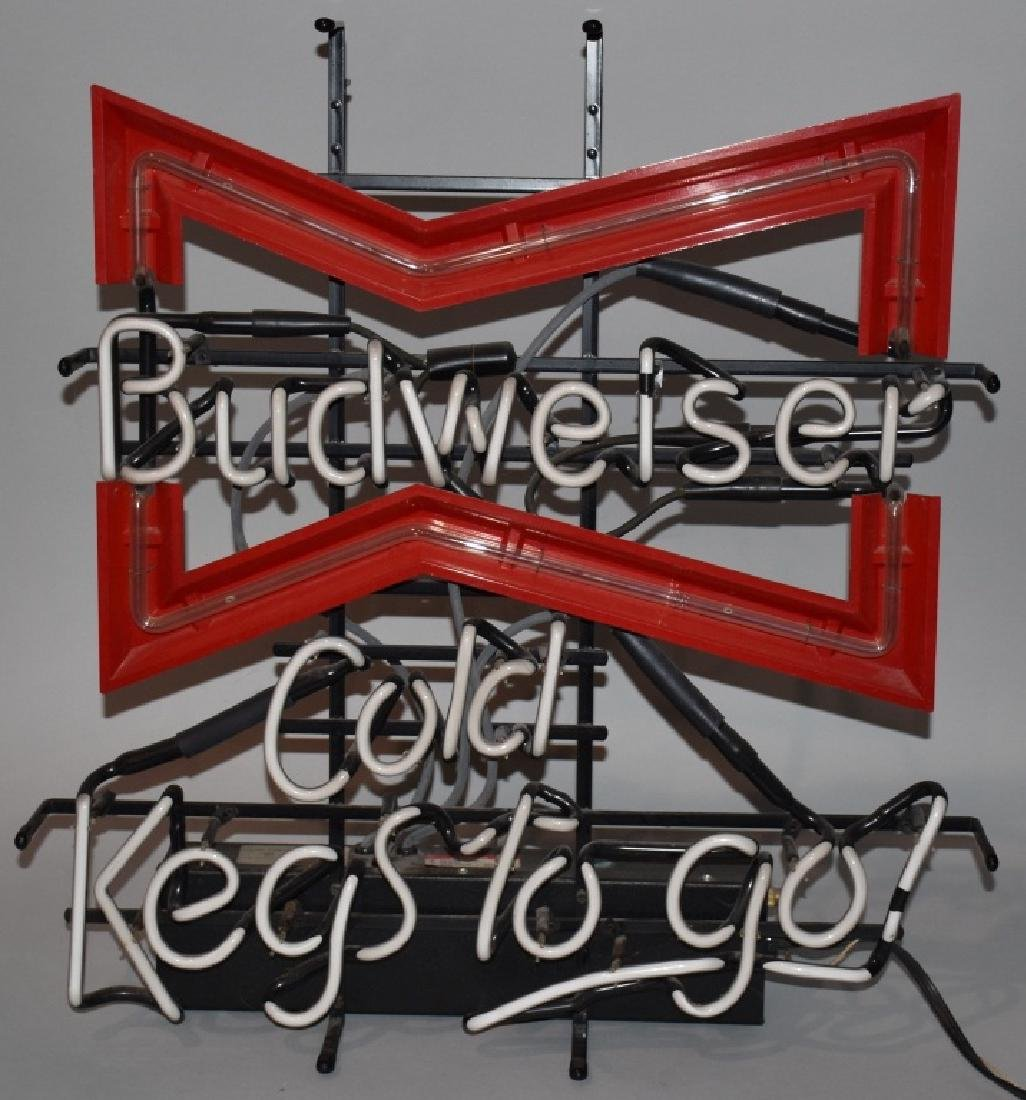 BUDWEISER BOWTIE COLD KEGS TO GO NEAON LIGHT - 2