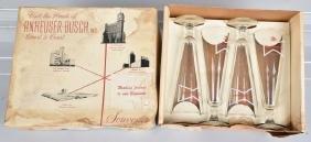 VINTAGE ANHEUSER-BUSCH SOUVENIR BEER GLASSES w/BOX