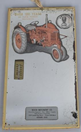 CASE TRACTORS ADVERTISING MIRROR w/ THERMOMETER