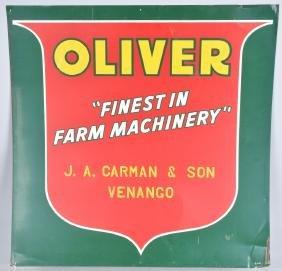 VINATGE TIN OLIVER TRACTOR FARM MACHINERY SIGN