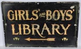 Early GIRLS & BOYS LIBRARY ARROW Paint Tin Sign