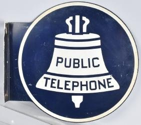 BELL PUBLIC TELEPHONE TIN DS ROUND FLANGE SIGN