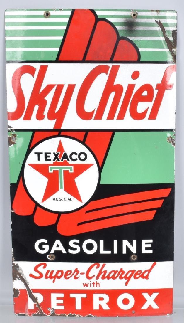 TEXACO SKY CHIEF GASOLINE PORCELAIN SIGN
