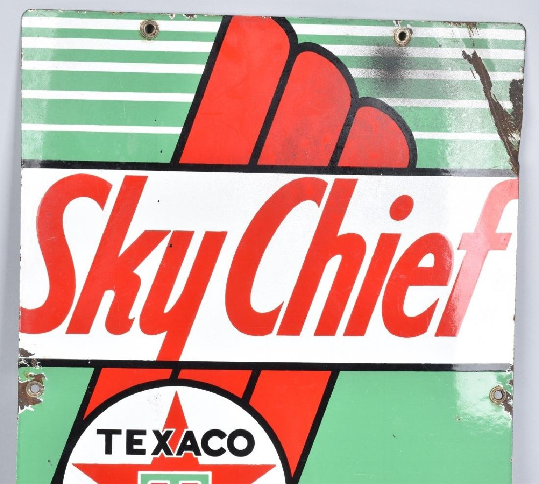 TEXACO SKY CHIEF GASOLINE PORCELAIN SIGN - 2