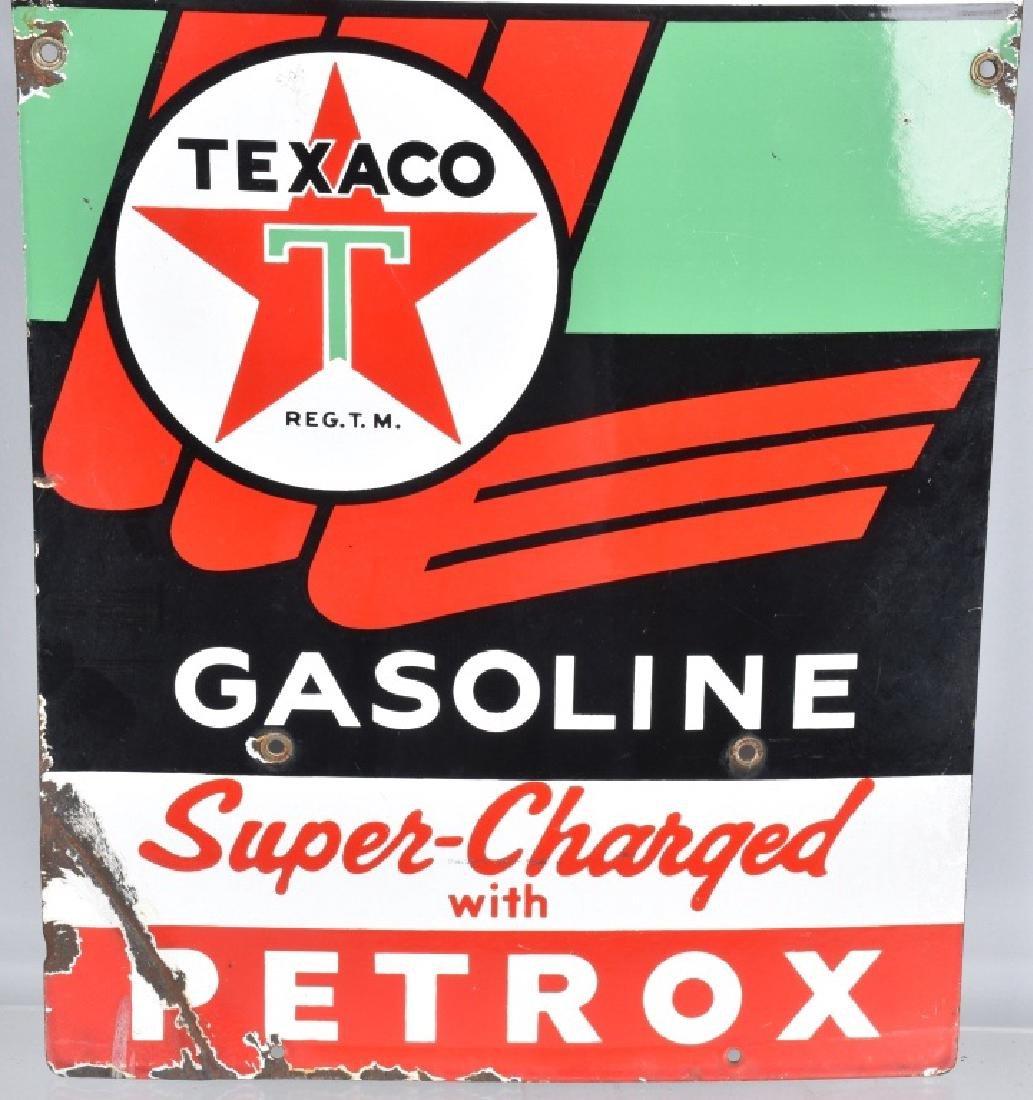 TEXACO SKY CHIEF GASOLINE PORCELAIN SIGN - 3