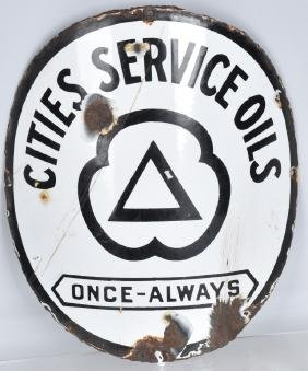 CITIES SERVICE OIL CURVED PORCELAIN SIGN