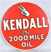 KENDALL 2000 MILE OIL DS ROUND TIN SIGN