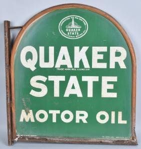 QUAKER STATE MOTOR OIL DS TIN SIGN w/ FRAME