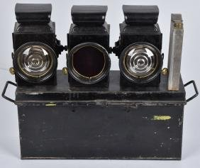 EARLY RAYDYOT 3 KEROSENE AUTO LIGHT SET w/BOX