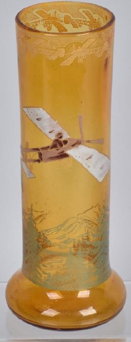 AMEBER GLASS VASE w/ EARLY AIRPLANE DECORATION