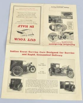 1927 INDIAN MOTORCYCLE SERVICE CARS FLYER