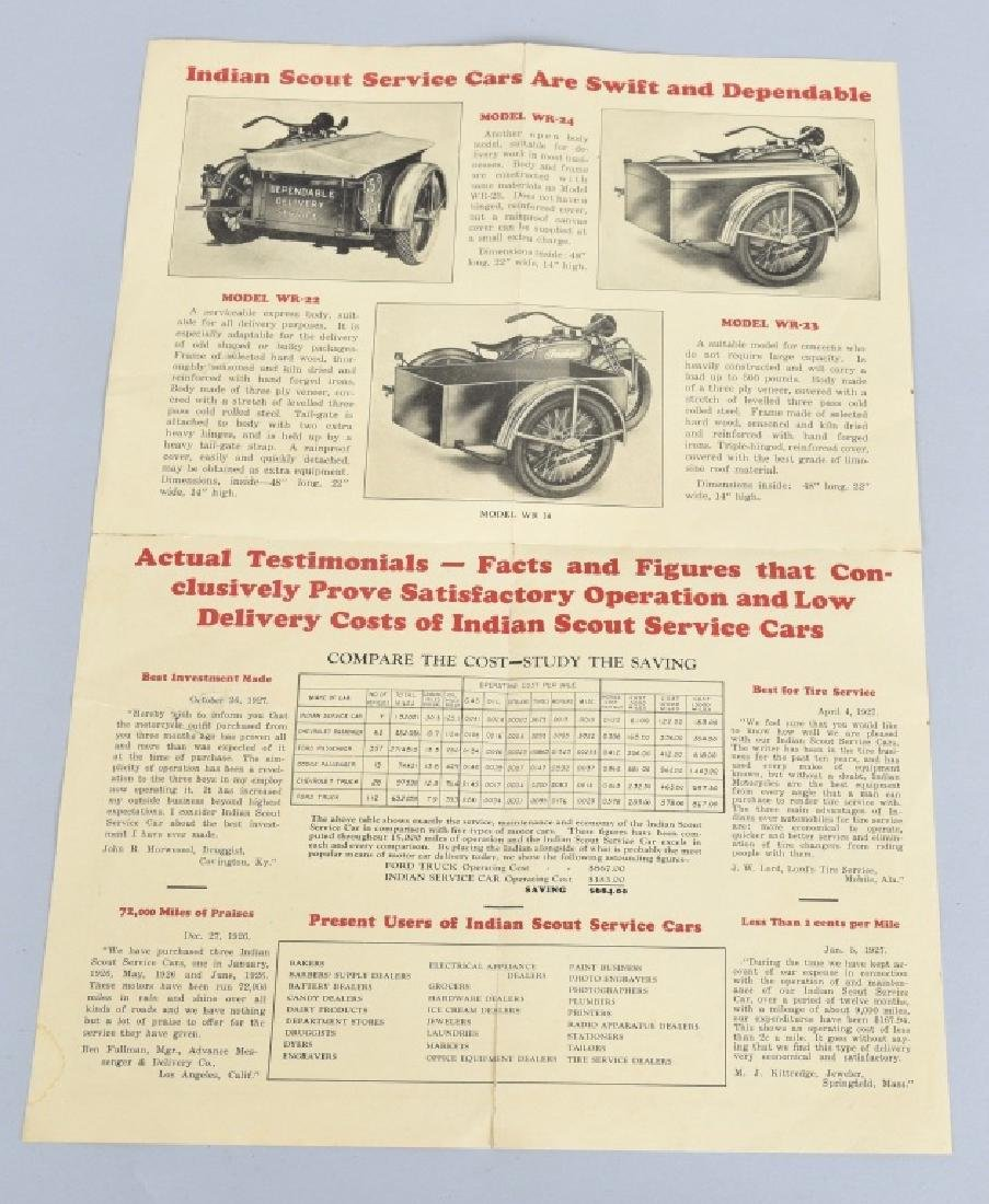 1927 INDIAN MOTORCYCLE SERVICE CARS FLYER - 3