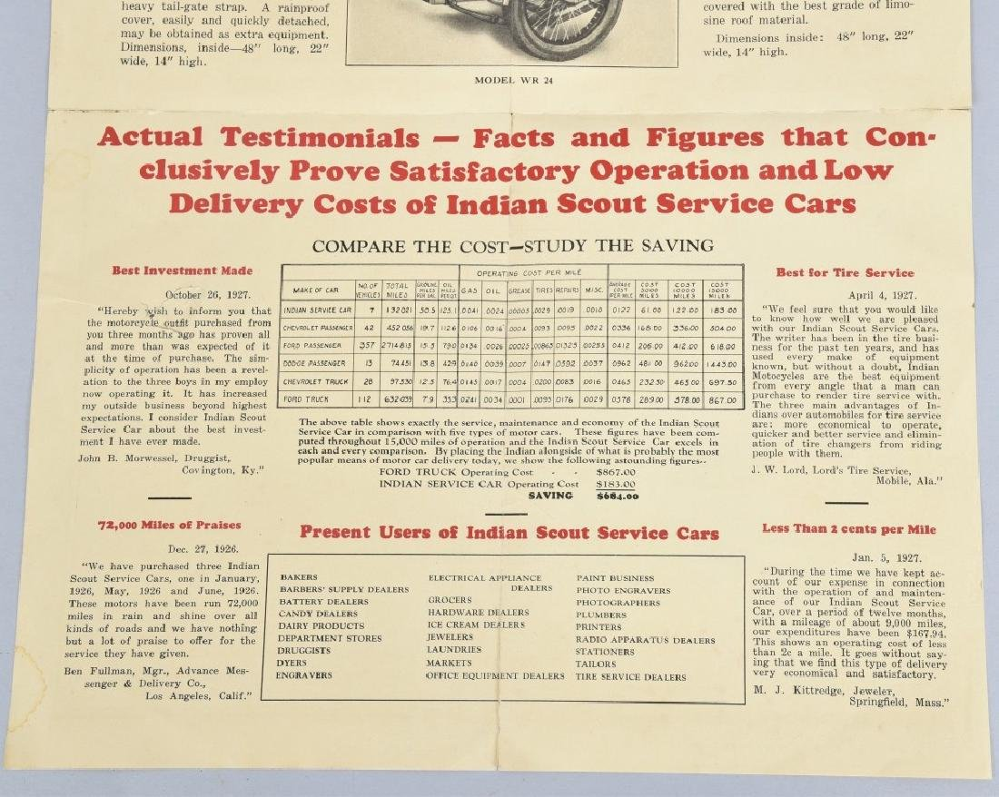 1927 INDIAN MOTORCYCLE SERVICE CARS FLYER - 5