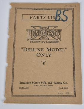 1930 HENDERSON MOTORCYCLE PARTS LIST CATALOG