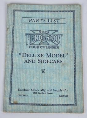 HENDERSON MOTORCYCLE PARTS LIST CATALOG