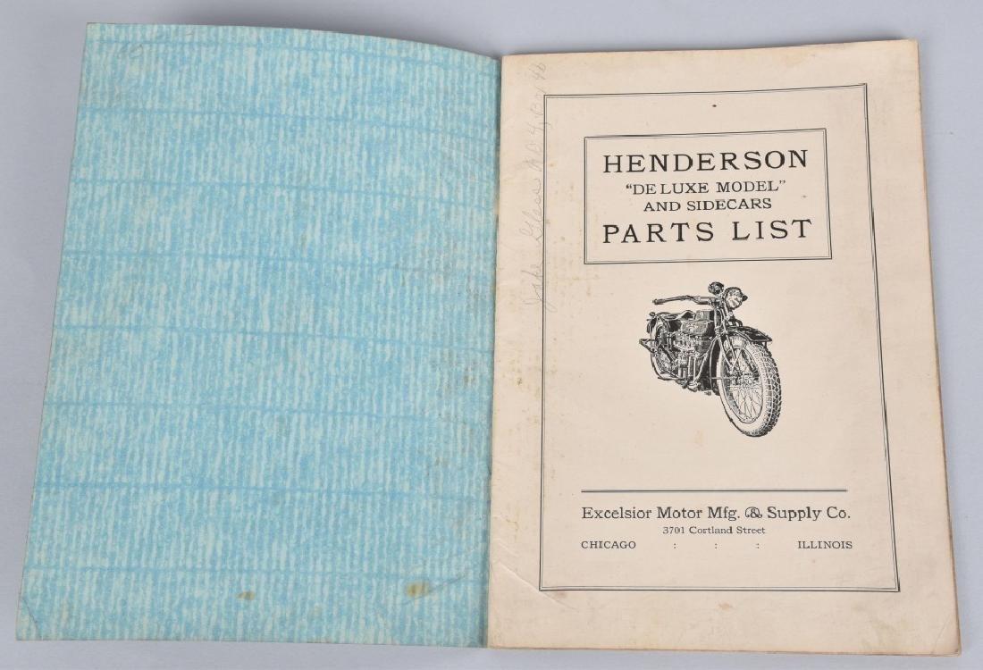 HENDERSON MOTORCYCLE PARTS LIST CATALOG - 2