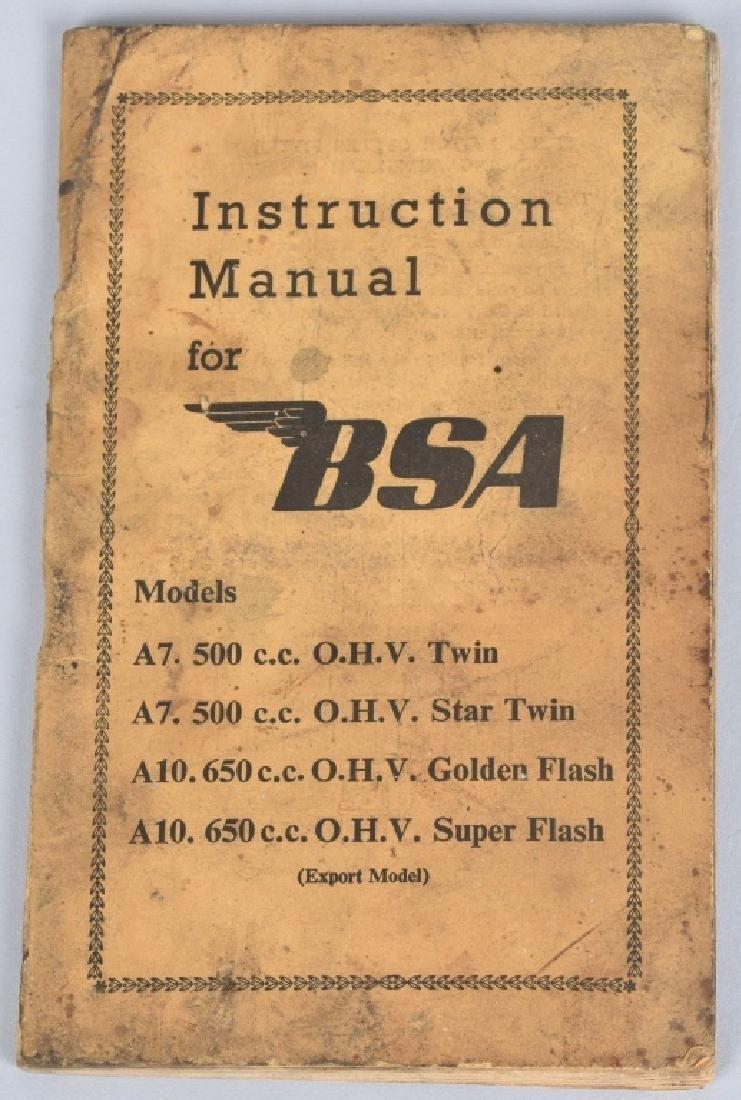 1953 BSA MOTORCYCLE INSTRUCTION MANUAL