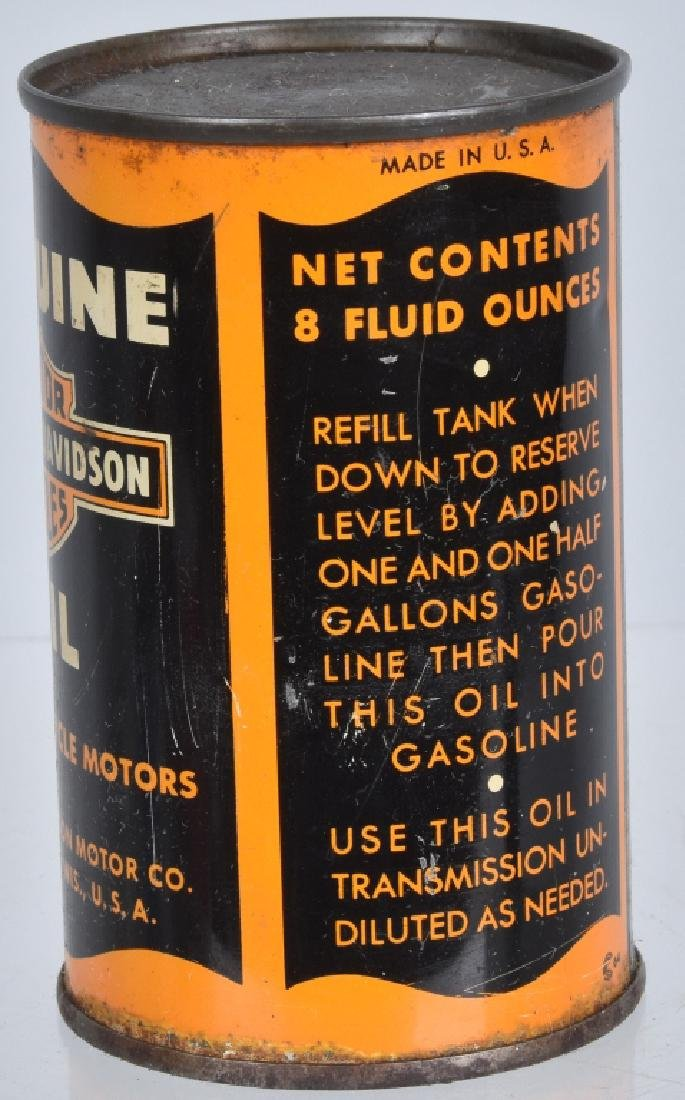 EARLY HARLEY DAVIDSON MOTORCYCLE OIL 8oz CAN - 2