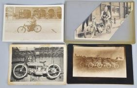 5- EARLY MOTORCYCLE POSTCARDS