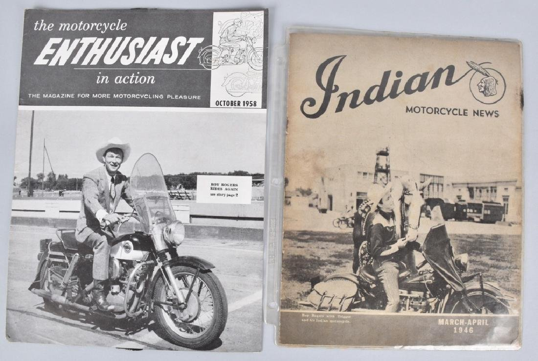 1946 and 1958 MOTORCYCLE MAGS with ROY ROGERS