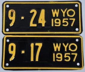 2- 1957 WYOMING MOTORCYCLE LICENSE PLATES