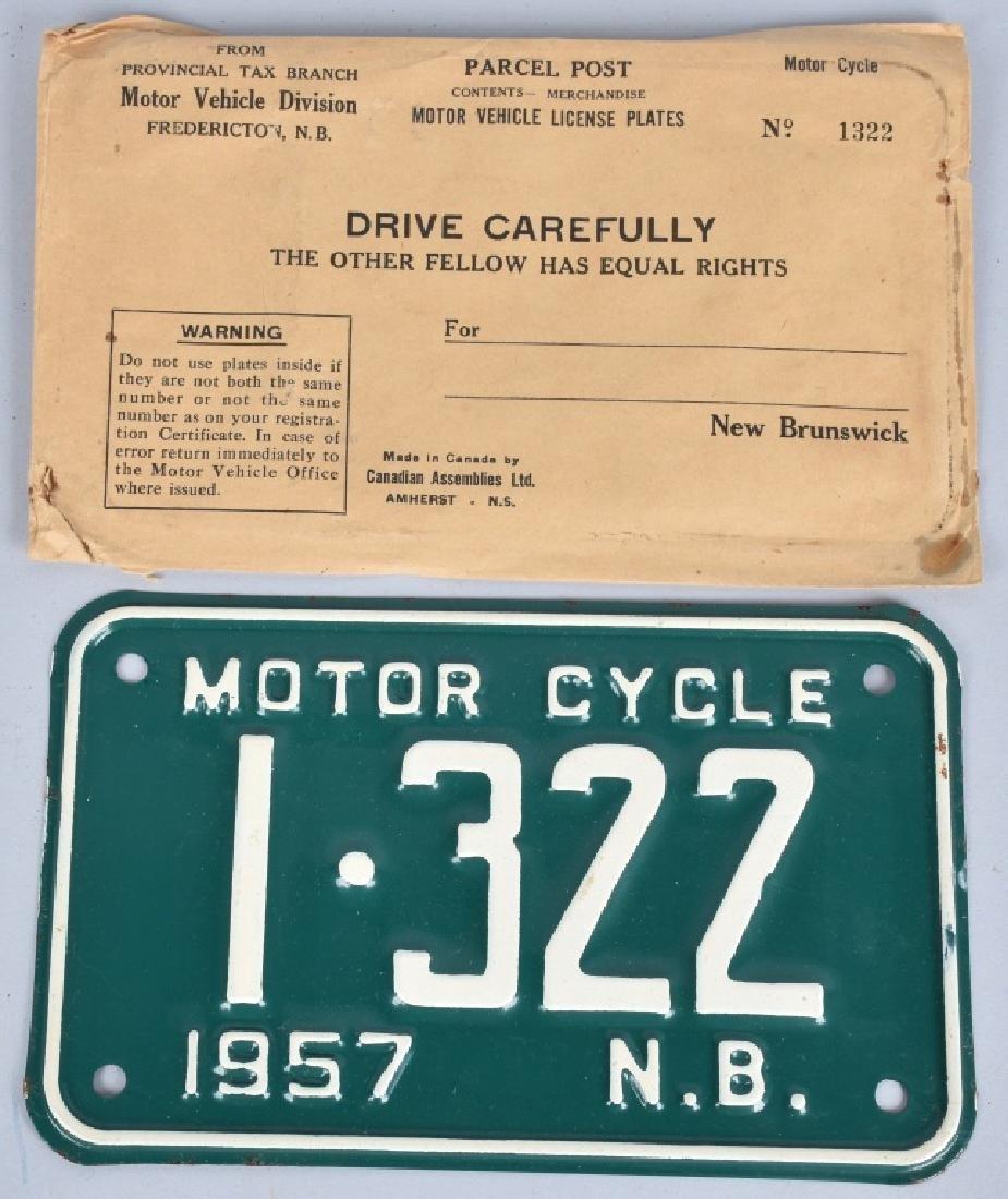 1957 NEW BRUNSWICK MOTORCYCLE LICENSE PLATE MIP