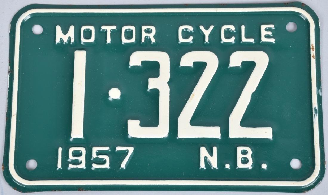 1957 NEW BRUNSWICK MOTORCYCLE LICENSE PLATE MIP - 2