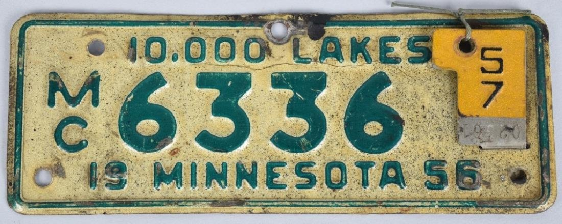 1956 MINNESOTA MOTORCYCLE PLATE w/ 57 TOPPER