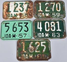1957,58, 59,61, & 63 IDAHO MOTORCYCLE LICENSE PLAT