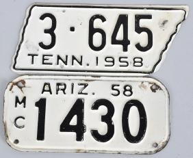 58 TENNESSEE & ARIZONA MOTORCYCLE LICENSE PLATES