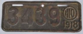 1918 OHIO MOTORCYCLE LICENSE PLATE
