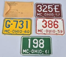 1957, 1959, 1960, & 1961 OHIO MOTORCYCLE PLATES