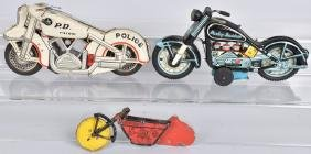 3- VINTAGE TIN MOTORCYCLE TOYS