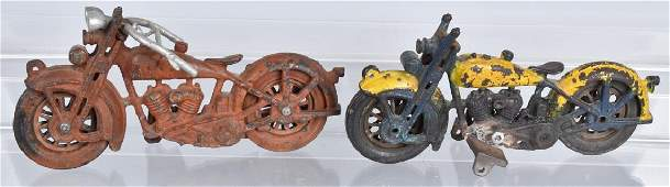 2- HUBLEY CAST IRON MOTORCYCLE TOYS