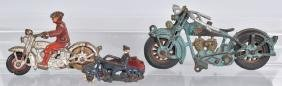 3- CAST IRON MOTORCYCLE TOYS