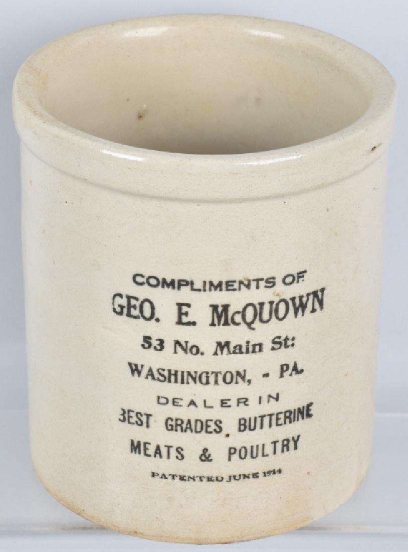 GEO E McQUOWN MEAT & POULTRY ADVERTISING CROCK