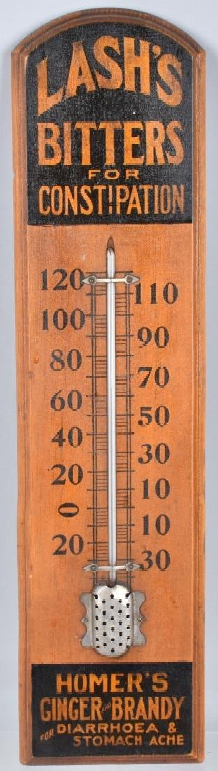 WOODEN LASH'S BITTERS ADVERTISING THERMOMETER