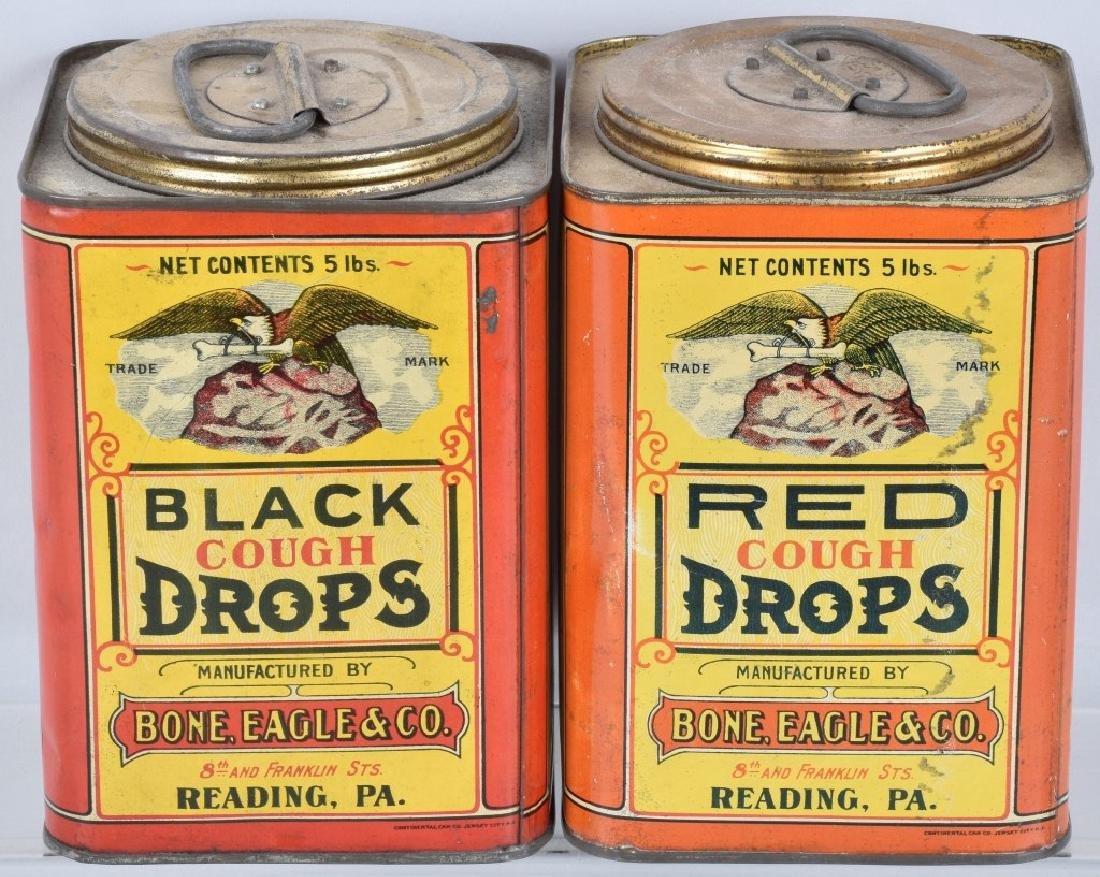 2- BONE EAGLE & CO RED & BLACK COUGH DROP TINS