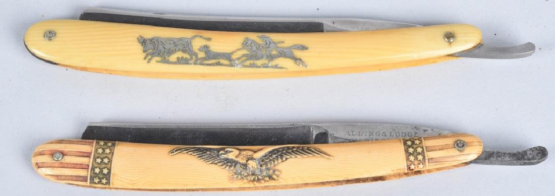PATRIOTIC EAGLE & COWBOY STRAIGHT RAZORS w/ CASE - 2