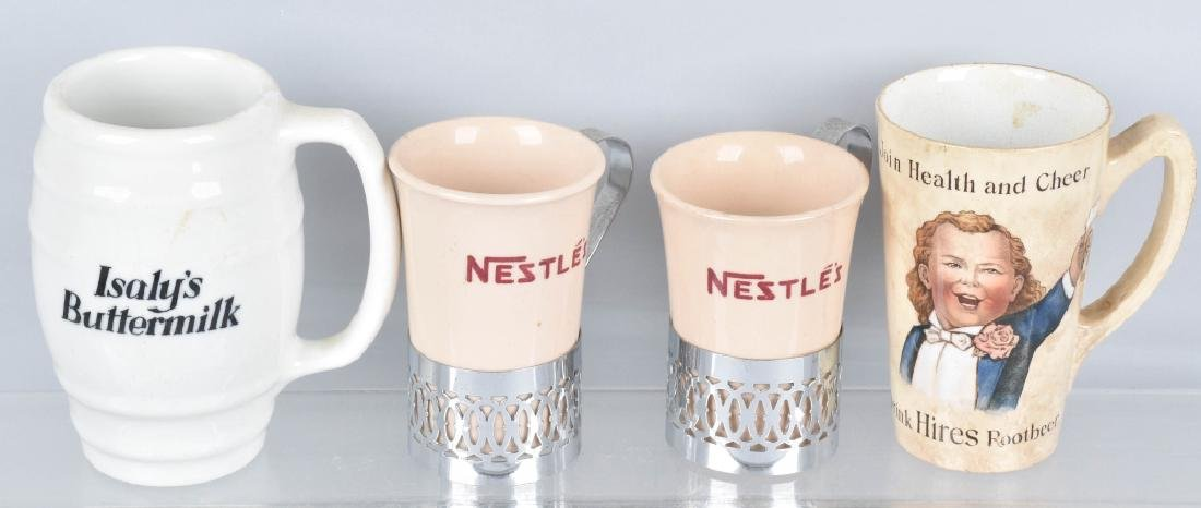 4-ADVERTISING MUGS, HIRES, ISALY'S and NESTLE'S