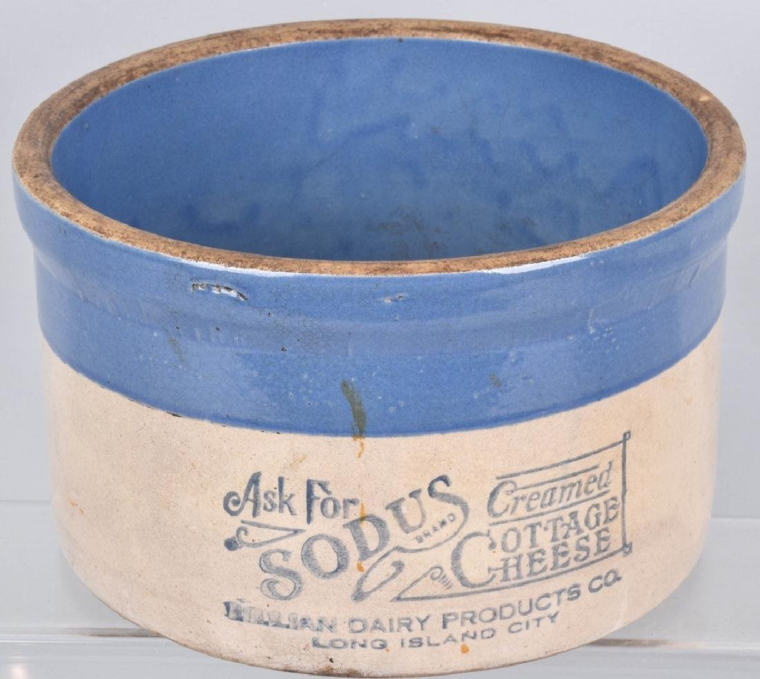 BLUE and WHITE STONEWARE ADVERTISING CROCK