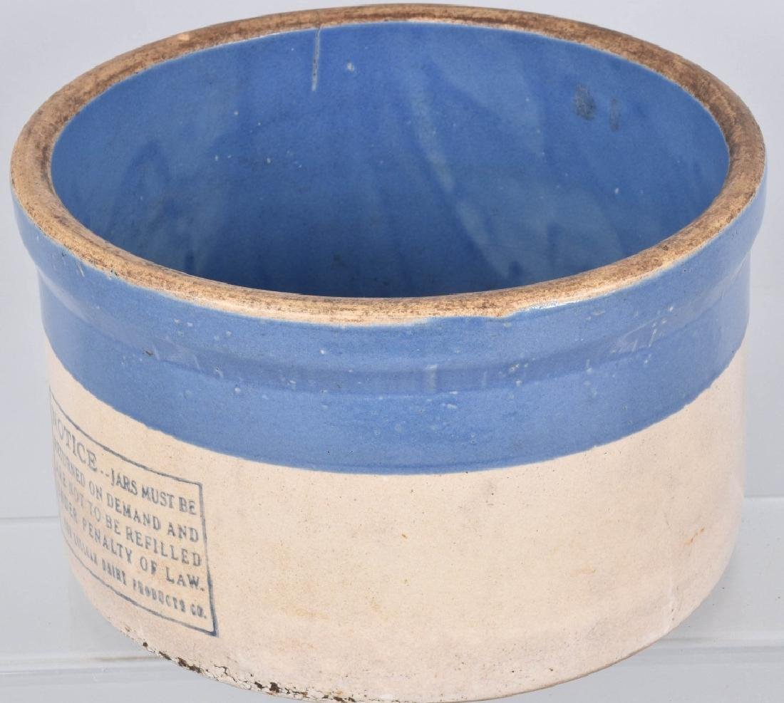 BLUE and WHITE STONEWARE ADVERTISING CROCK - 3