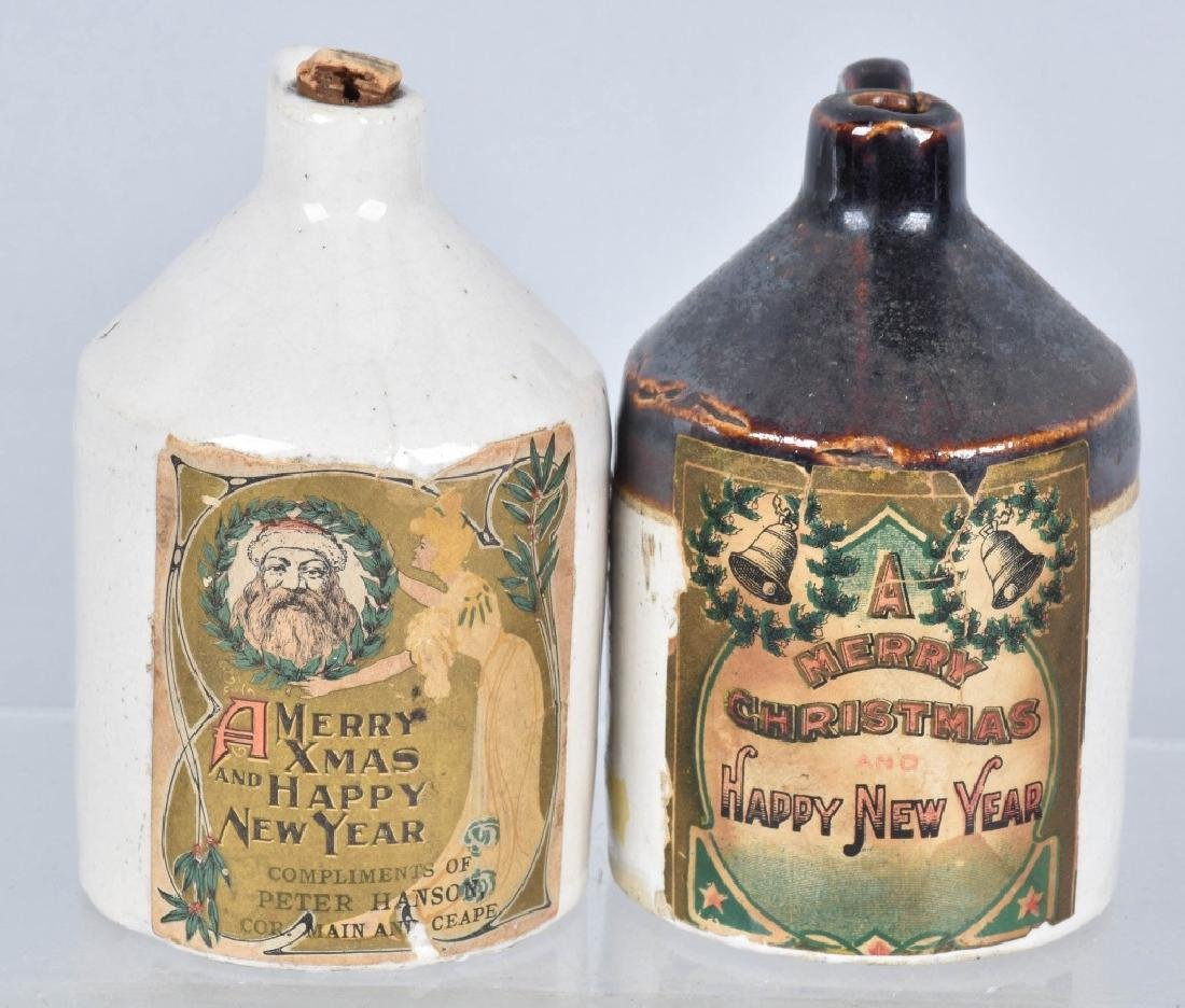 2-MERRY CHRISTMAS PAPER LABEL STONEWARE JUGS