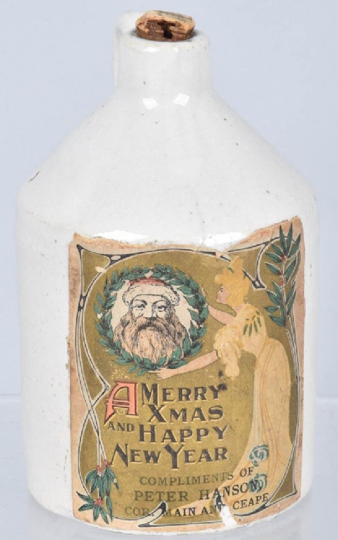 2-MERRY CHRISTMAS PAPER LABEL STONEWARE JUGS - 2