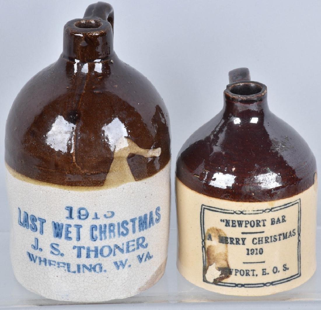 2-MERRY CHRISTMAS STONEWARE JUGS, 1910 & 1913